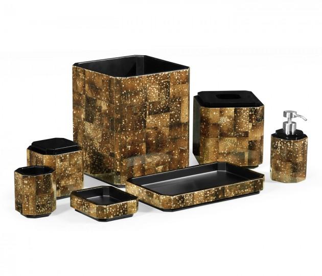 Dark Black Eggshell Bathroom Accessory Set