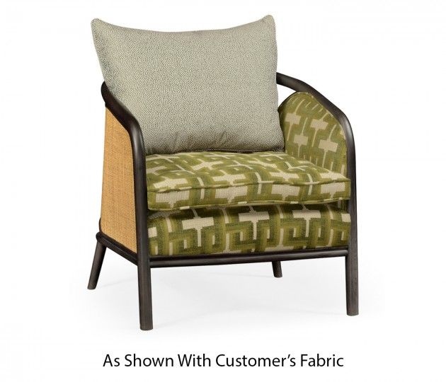 Dark Brown Ash & Woven Rattan Occasional Chair, Upholstered in COM