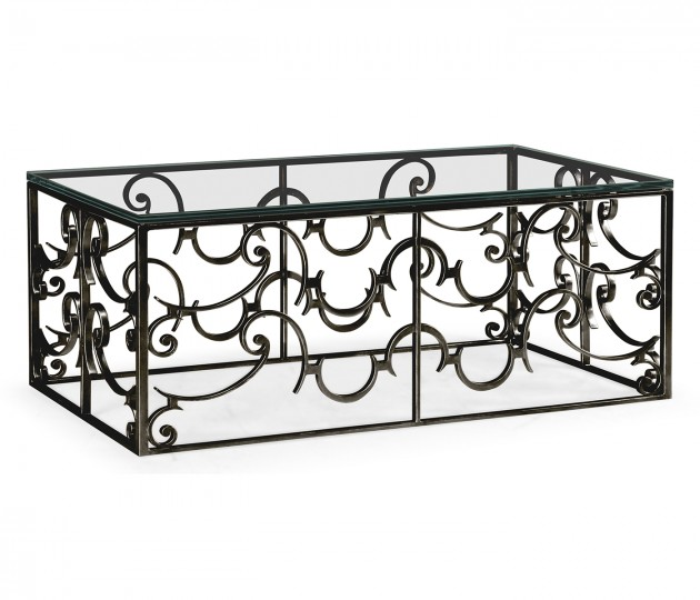 Rectangular Arabesque Bronze Iron Coffee Table with 20mm Clear Glass Top
