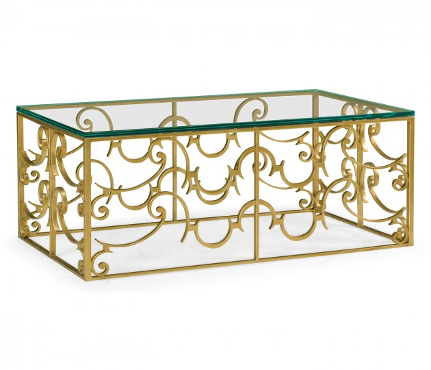 Rectangular Arabesque Gilded Iron Coffee Table with 20mm Clear Glass Top