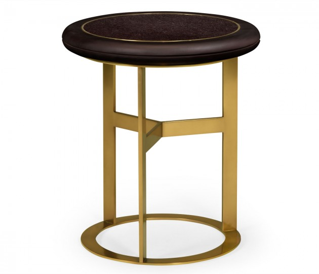 Round Polished Brass & Black Ash Side Table with Black Granite Top