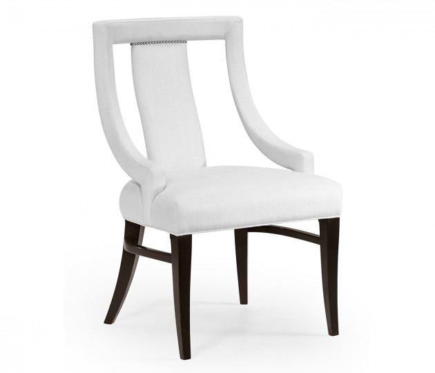 Espresso Dining Side Chair, Upholstered in COM
