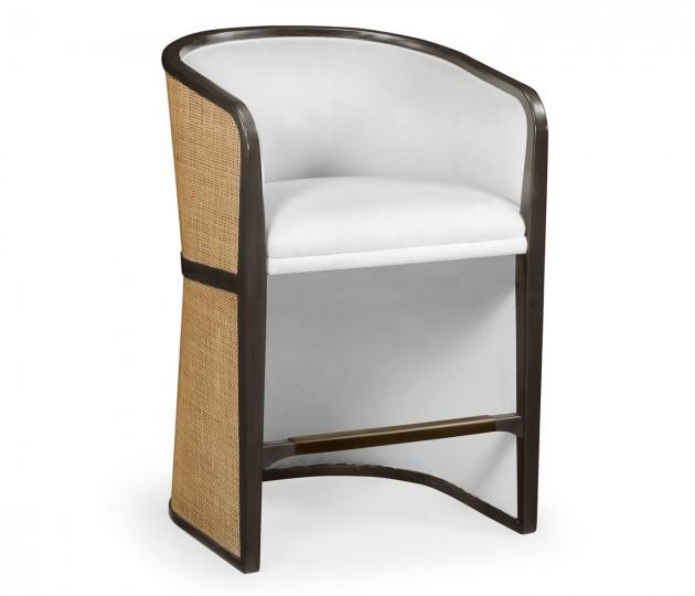 Dark Brown Ash Bar Stool, Upholstered in COM by Distributor