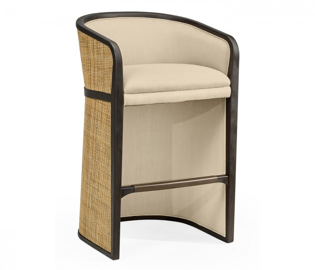 Dark Brown Ash Bar Stool, Upholstered in MAZO