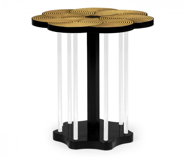 Op Art Floral Bright Satinwood & Acrylic Lamp Table