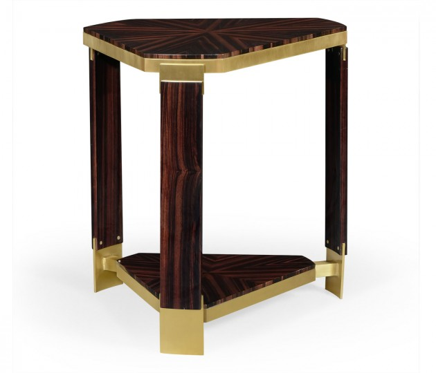 Triangular Dark Macassar Ebony Side Table
