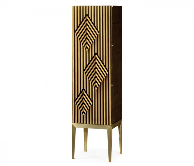 Op Art Diamond Bright Satinwood Right Storage Cabinet
