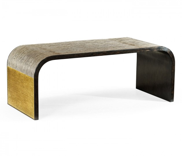 Fusion Curved Antique Etched Brass with Silver Rub & Ebonised Oak Coffee Table