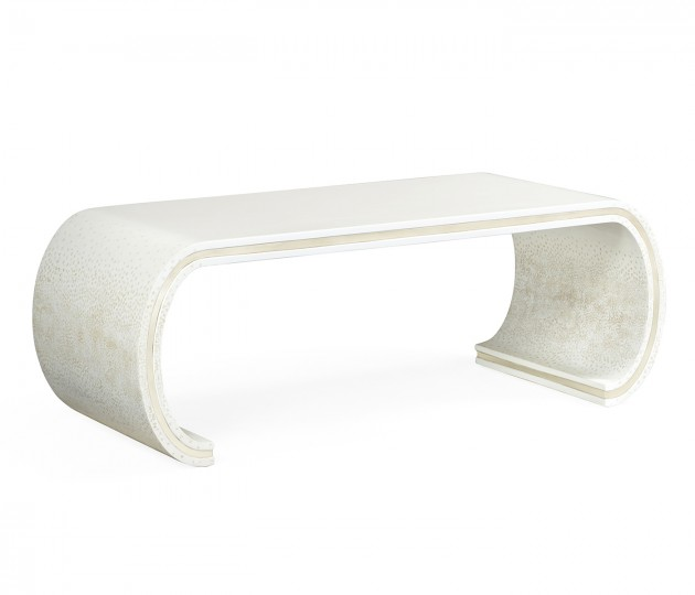 Curved Edges Ivory Eggshell Coffee Table