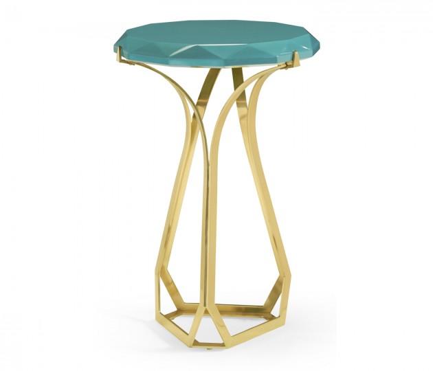 Round Jewel Style Brass & Daphne Blue Diamond Cut End Table