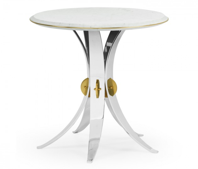 Fusion Round Stainless Steel End Table with Marble Top