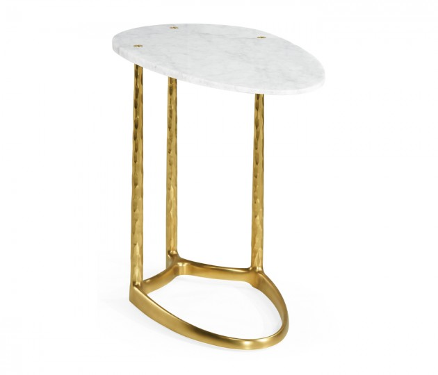 Satin Gold Brass Sofa Table with White Calcutta Marble Top