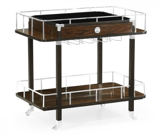 Rectangular Campaign Style Dark Santos Rosewood Rolling Bar Cart with Drawer