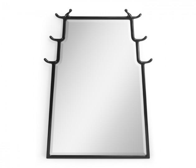 Asian Fusion Smoky Black Hanging Mirror