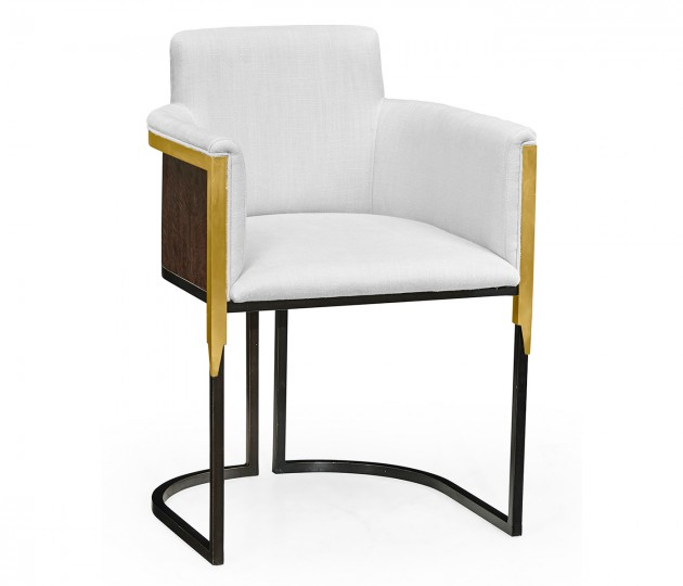 High Back Black Eucalyptus & Brass Tub Dining Chair, Upholstered in COM by Distributor