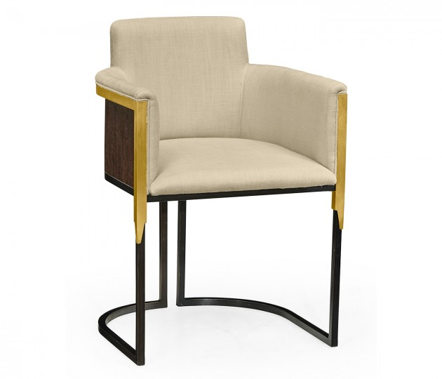 High Back Black Eucalyptus & Brass Tub Dining Chair, Upholstered in MAZO