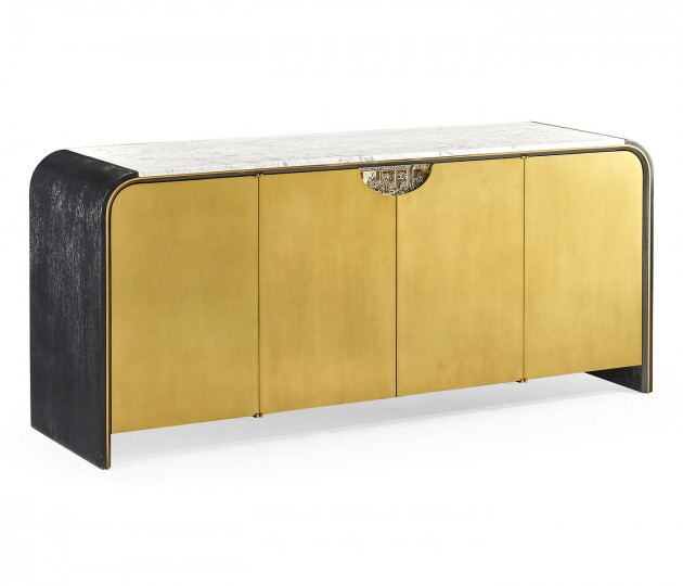 Fusion Oak & Brass Sideboard with White Marble Top