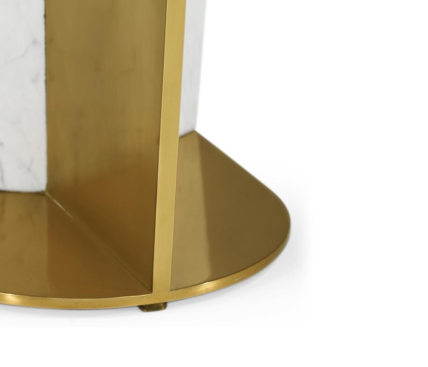 Small White Calcutta Marble & Brass End Table