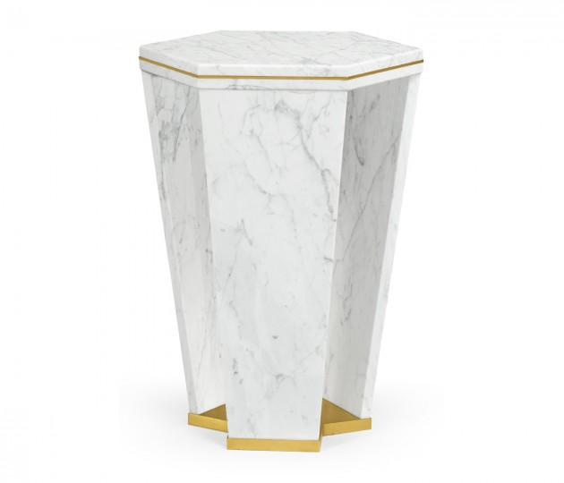 Fusion Hexagon Marble End Table