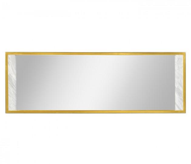 Long Rectangular Ebonised Oak & White Calcutta Marble Hanging Mirror