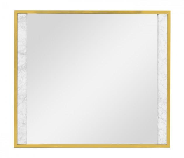 Square Ebonised Oak & White Calcutta Marble Hanging Mirror