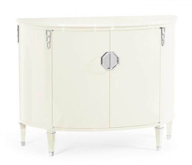 Demilune Winter White Storage Cabinet