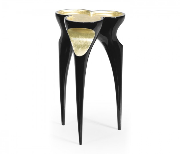 Trefoil Smoky Black & Gold Cut-Out Occasional Table