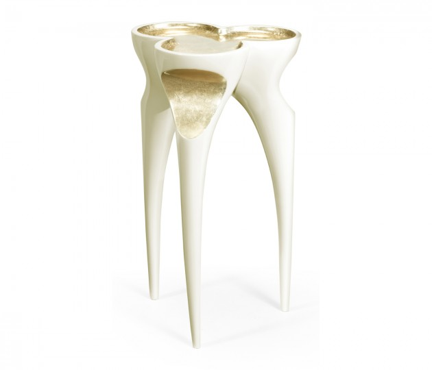 Trefoil Winter White & Gold Cut-Out Occasional Table