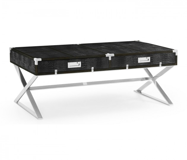 Campaign Style Dark Santos Rosewood & Faux Black Croc Leather Coffee Table with Drawers
