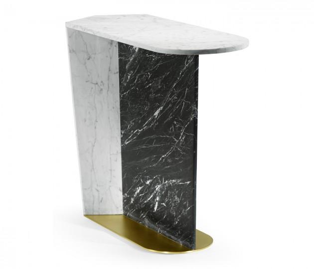Contemporary White Calcutta & Black Marble Sofa Table