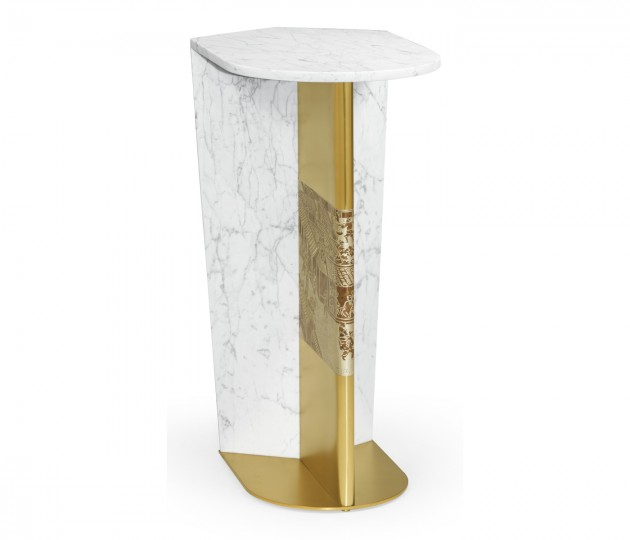 Contemporary White Calcutta Marble & Brass Sofa Table