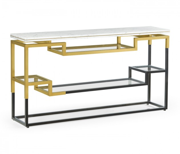 Thin Rectangular Multi-Tier Antique Bronze & Brass Console Table with White Calcutta Marble Top