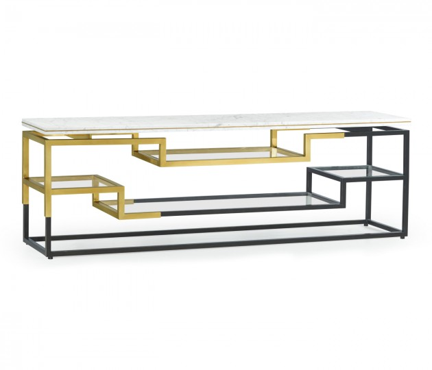 Low Rectangular Multi-Tier Antique Bronze & Brass Console Table with White Calcutta Marble Top