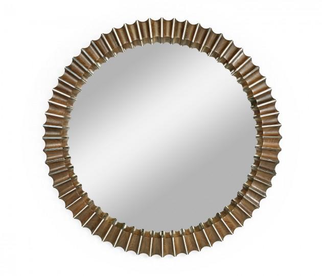 Round Dark Grey Walnut & Stainless Steel Reeded Hanging Mirror with Antique Glass