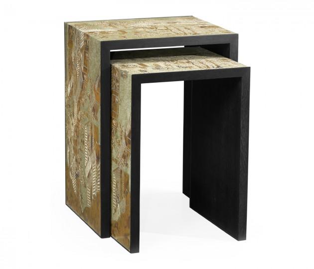 Chinoiserie Style Antique Etched Brass & Ebonised Oak Nesting Tables