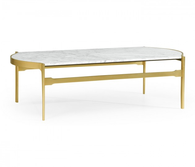 Curved Edge Antique Satin Gold Brass & White Calcutta Marble Coffee Table