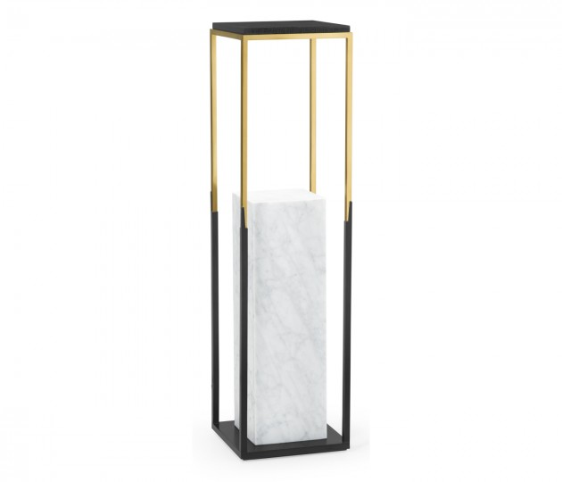 Contemporary Square Ebonised Oak & Brass Pedestal with White Calcutta Marble Centre