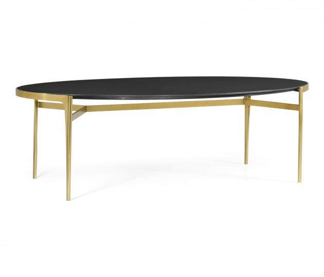 Oval Antique Satin Gold Brass & Ebonised Oak Dining Table