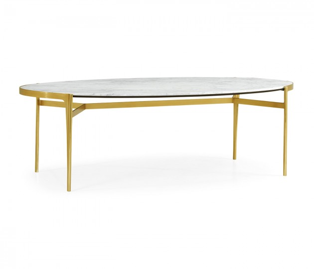 Oval Antique Satin Gold Brass & White Calcutta Marble Dining Table