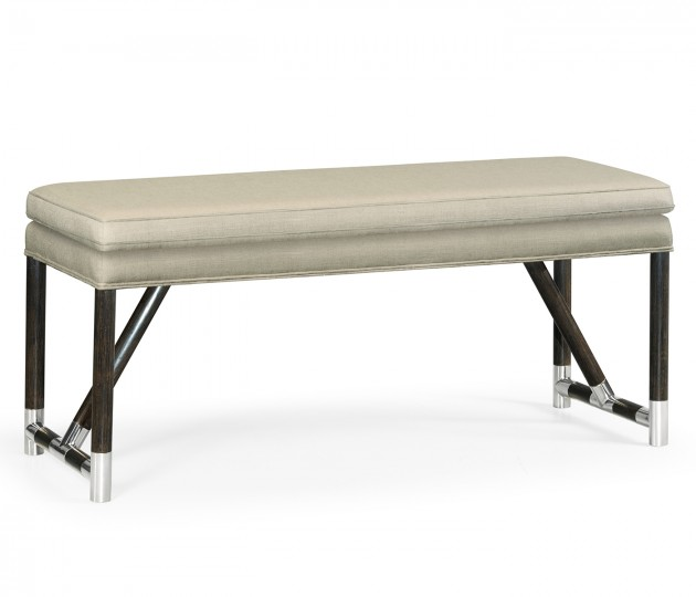 Campaign Style Charcoal Bench, Upholstered in MAZO