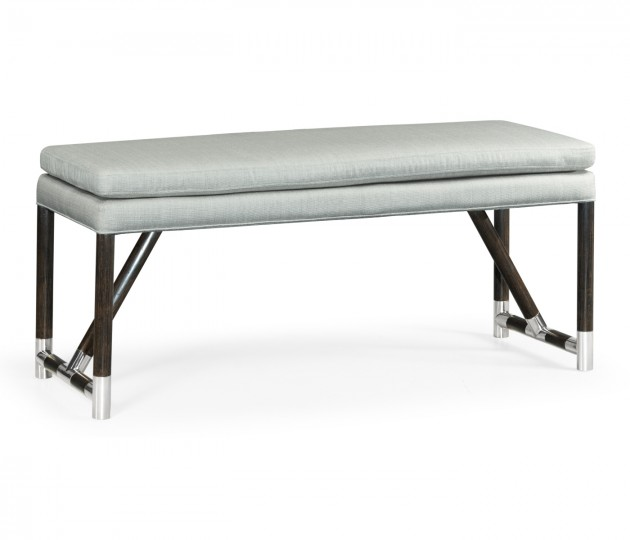 Campaign Style Charcoal Bench, Upholstered in COM