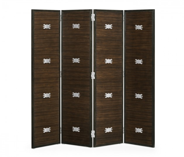 Campaign Style Dark Santos Rosewood Screen, Upholstered in MAZO