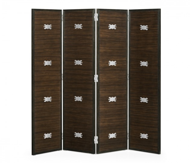 Campaign Style Dark Santos Rosewood Screen, Upholstered in COM