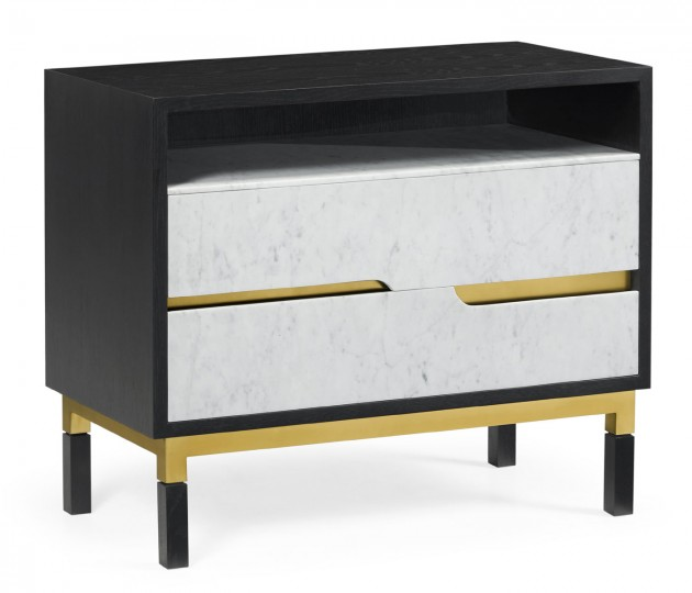Contemporary Ebonised Oak & White Calcutta Marble Bedside Chest of Drawers