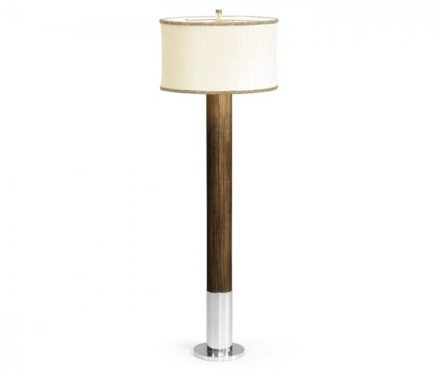 Circular Campaign Style Dark Santos Rosewood & White Stainless Steel Floor Lamp