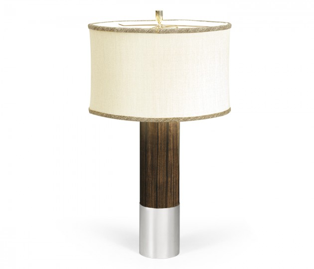 Circular Campaign Style Dark Santos Rosewood & White Stainless Steel Table Lamp