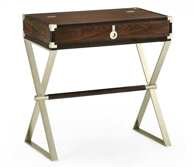 Campaign Style Dark Santos Rosewood Flip–Top Desk