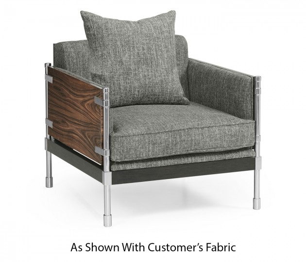 Campaign Style Dark Santos Rosewood Sofa Chair, Upholstered in COM