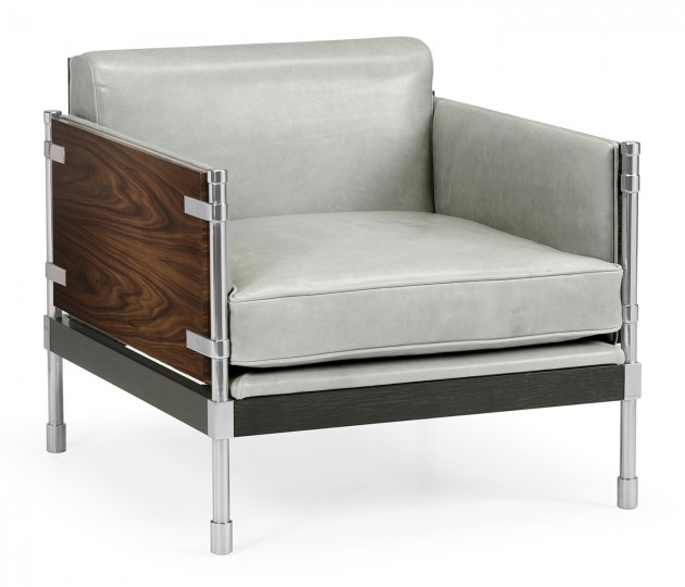 Campaign Style Dark Santos Rosewood Sofa Chair, Upholstered in Grey Leather