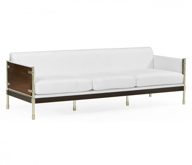 Campaign Style Dark Santos Rosewood Sofa, Upholstered in COM by Distributor